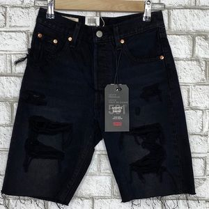 Levi's 501 distressed high rise shorts in black